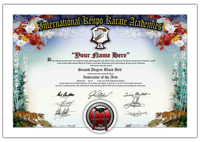 International kenpo karate academies ed parker jr belt for Black belt certificate template